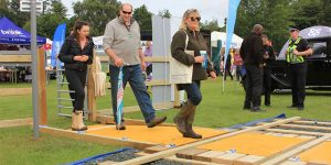 Trying out the mock level crossing at the Norfolk Show earlier in the week